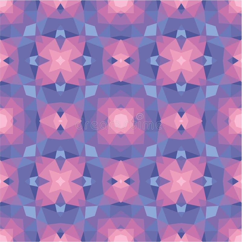 Abstrakter geometrischer Hintergrund - nahtloses Vektormuster in den violetten, rosa und lila Farben Ethnische boho Art (Dekoreur stock abbildung