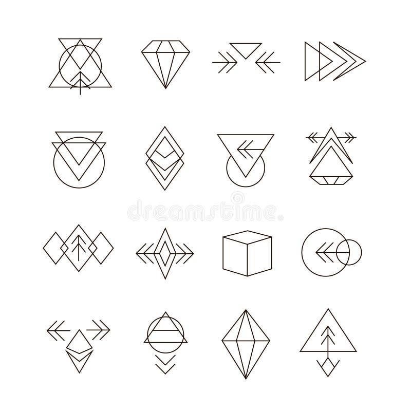 Abstrakter geometrischer Satz mit Hippie-Art-Ikonen lizenzfreie abbildung
