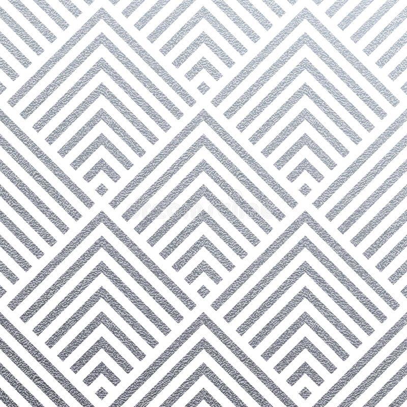 Abstrakter geometrischer silberner Musterhintergrund von nahtlosen Fliesen der Quadrat- oder Dreieckmaschenverzierung für Schablo lizenzfreie abbildung
