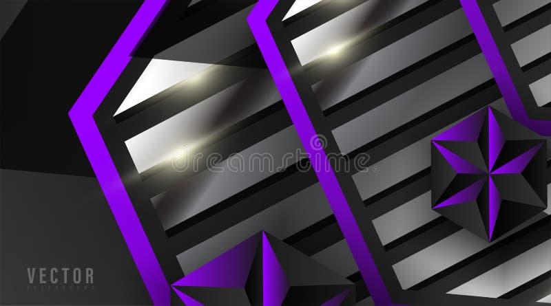 Abstrakter geometrischer Vektor-Hintergrund Hexagon, Streifen und Dreieck mit Farbverlauf , violett, weiß, grau und schwarz vektor abbildung
