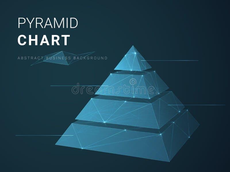 Abstrakter Geschäftshintergrundvektor, der in Form Pyramidendiagramm mit Sternen und Linien einer geteilten Pyramide auf blauem H vektor abbildung