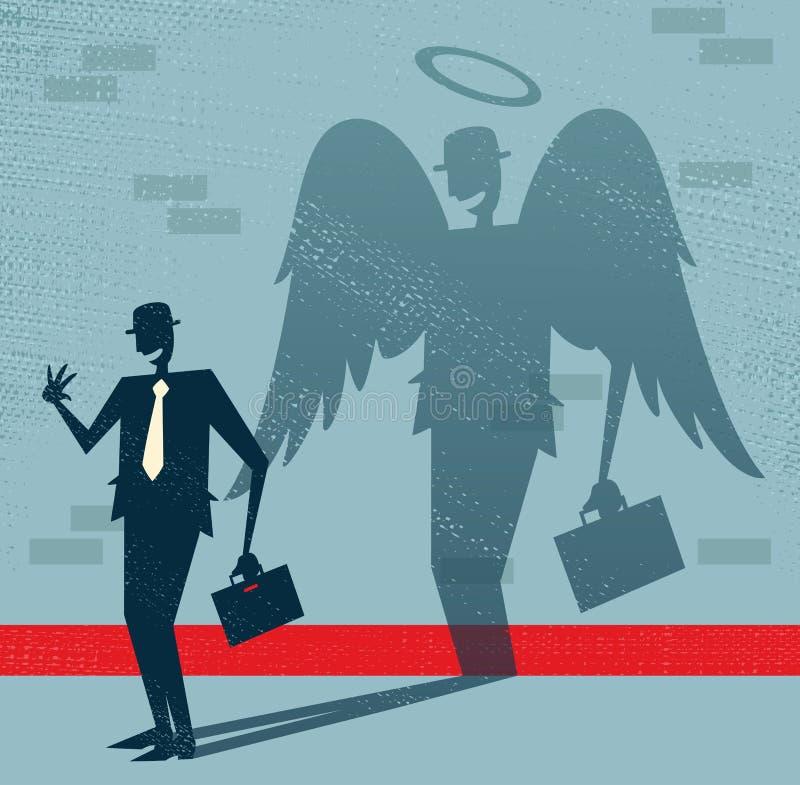 Abstrakter Geschäftsmann ist Engel in der Verkleidung. lizenzfreie abbildung