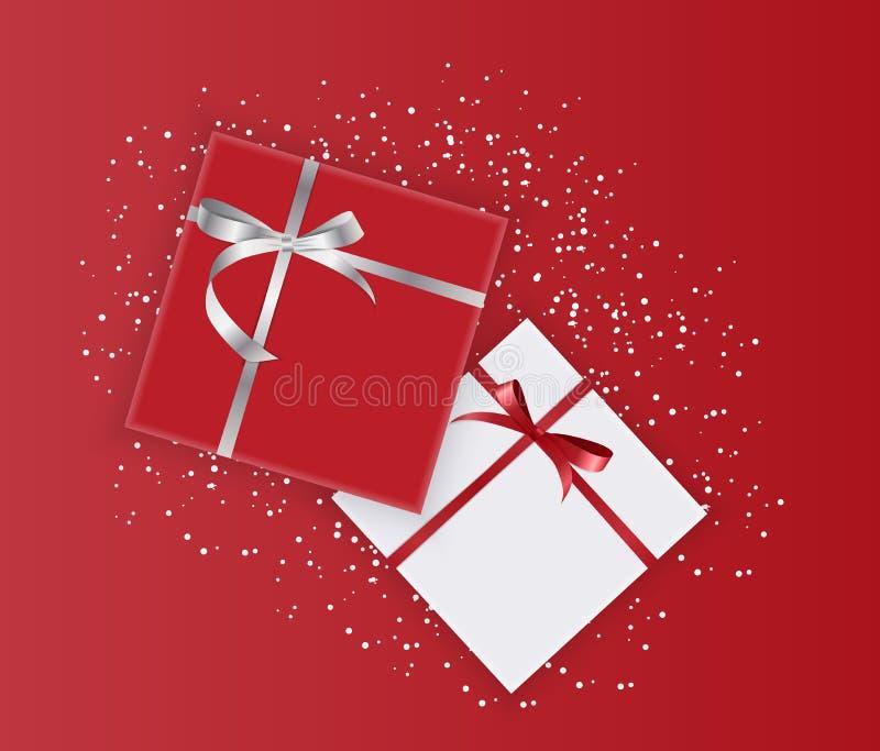 Abstrakter Geschenkbox-Feiertags-Gruß-Hintergrund Auch im corel abgehobenen Betrag lizenzfreie abbildung