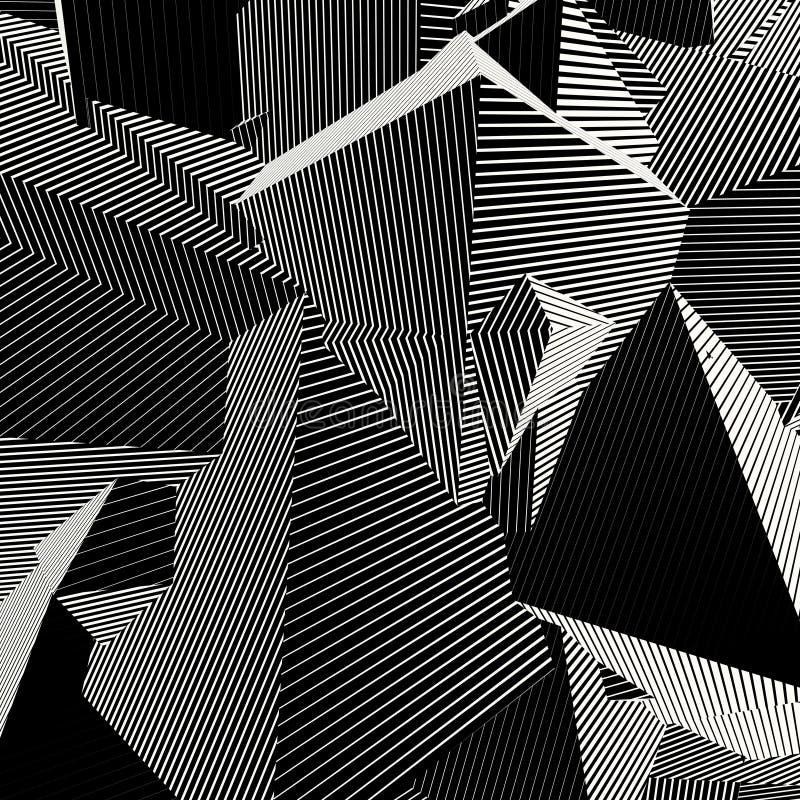 Abstrakter gestreifter Formhintergrund in Schwarzweiss stock abbildung
