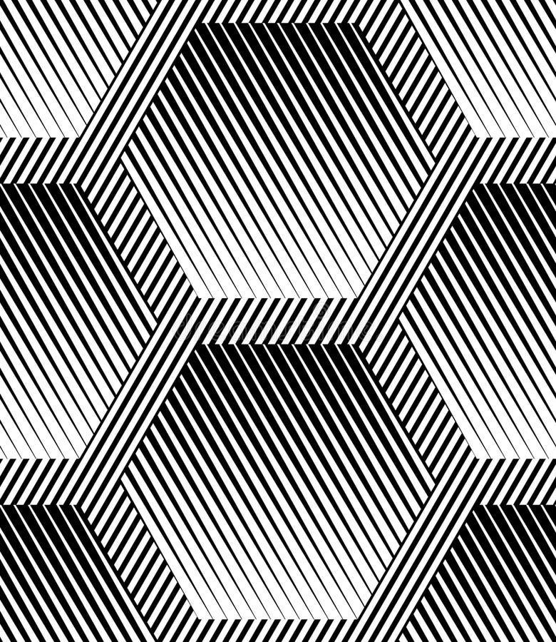 Abstrakter gestreifter Hexagon-geometrischer Vektor-nahtloses Muster stock abbildung