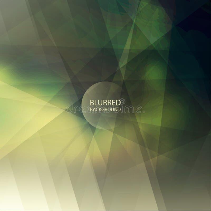 Abstrakter gestreifter Hintergrund mit buntem unscharfem Bild und transparenten geometrischen Formen stock abbildung