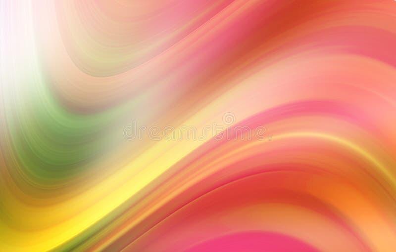 Abstrakter gewellter Hintergrund in der rosa, orange, gelben und grünen Farbe lizenzfreie abbildung