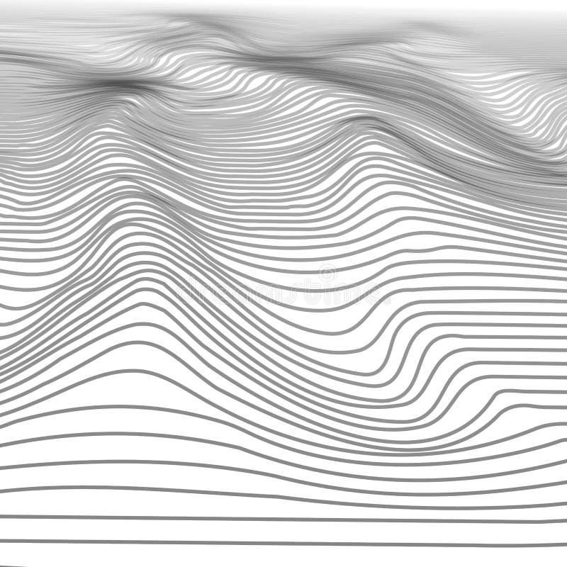 Abstrakter gewellter Streifen Wireframe-Hintergrund Digital-Cyberspace-Berge mit Tälern Illustrations-Landschaft der Technologie- lizenzfreie abbildung