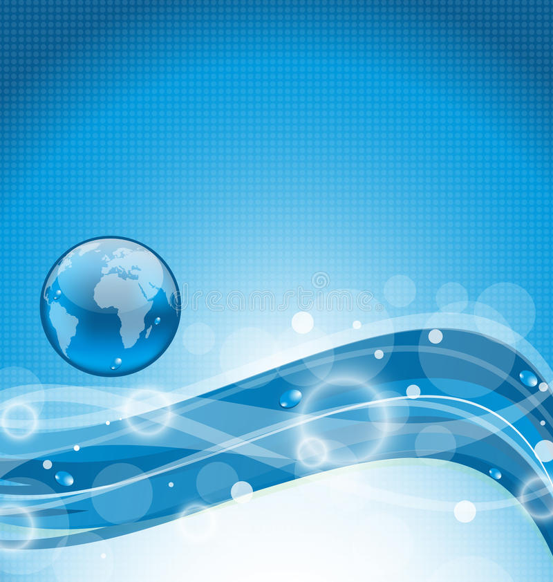 Abstrakter gewellter Wasserhintergrund mit Erdsymbol lizenzfreie abbildung