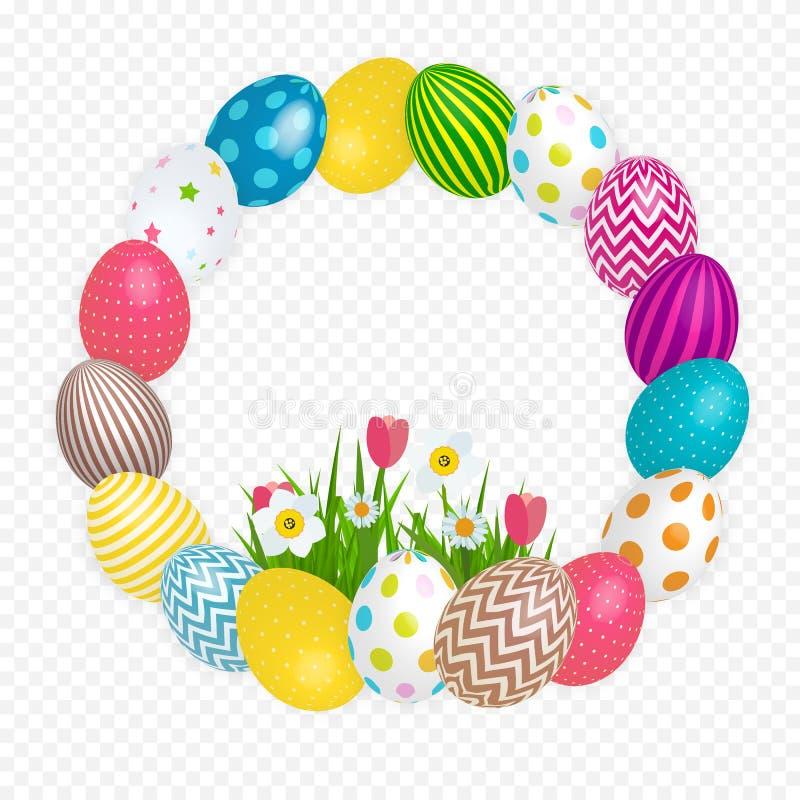 Abstrakter glücklicher Ostern-Schablonen-Feiertag auf Trasparent-Hintergrund-Vektor-Illustration stock abbildung