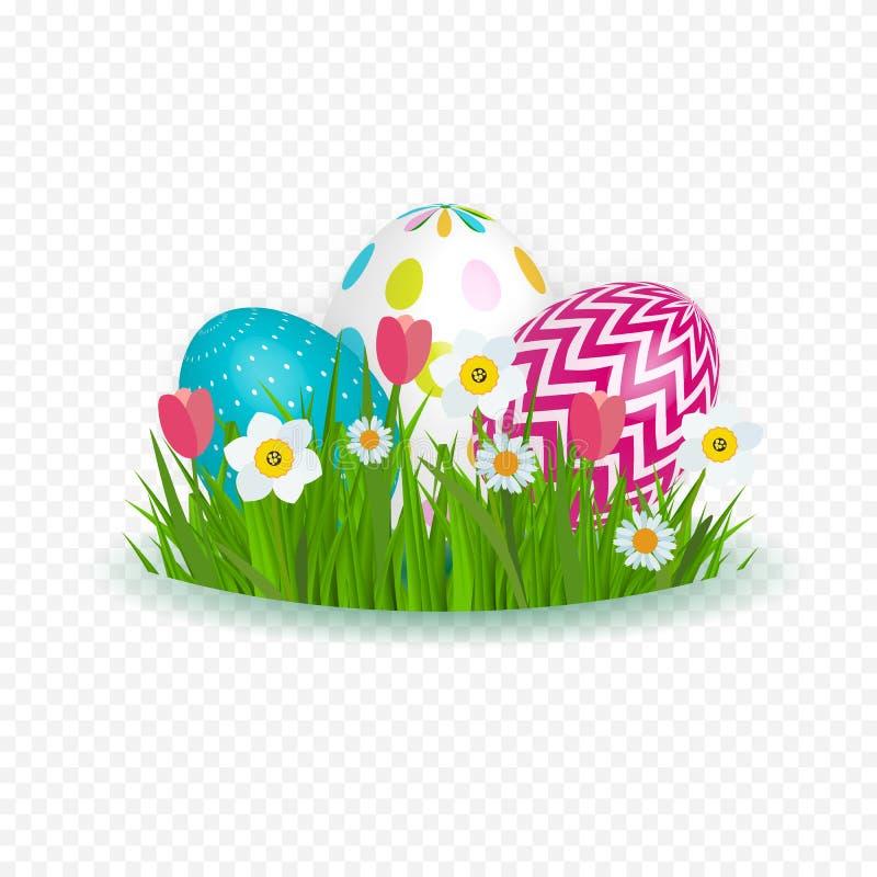 Abstrakter glücklicher Ostern-Schablonen-Feiertag auf Trasparent-Hintergrund-Vektor-Illustration lizenzfreie abbildung