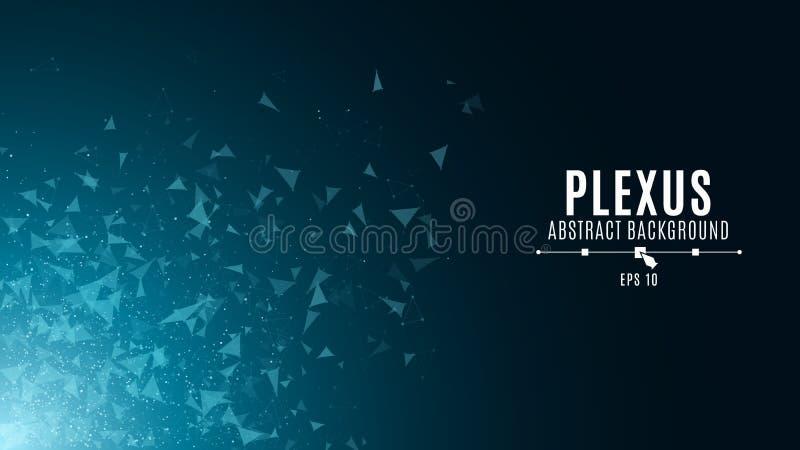 Abstrakter glühender Hintergrund im Stil des Plexus Die Fliegendreiecke sind in der Dunkelheit blau Große Daten Moderne Technolog lizenzfreie abbildung