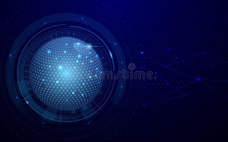 Abstrakter globaler und Technologieverbindungs-Konzeptes des Netzes des futuristischen dunkelblauer Hintergrund Auch im corel abg vektor abbildung