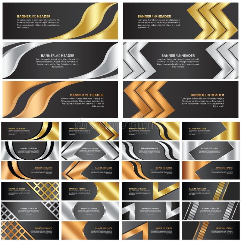 Abstrakter Gold-, Silber- und Bronzefahnensatz lizenzfreie abbildung