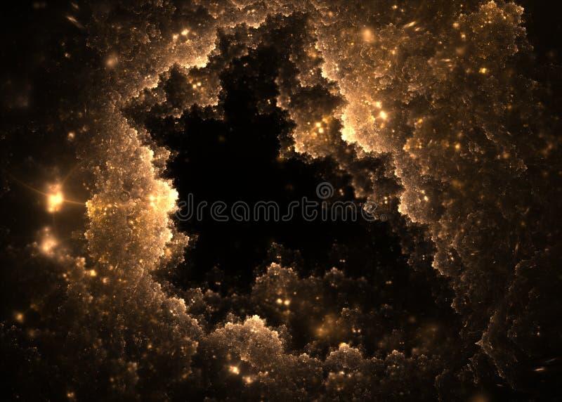 Abstrakter goldener Fractal bewölkt Loch mit Blendenfleck auf schwarzem Hintergrund Fractalkunst lizenzfreie abbildung