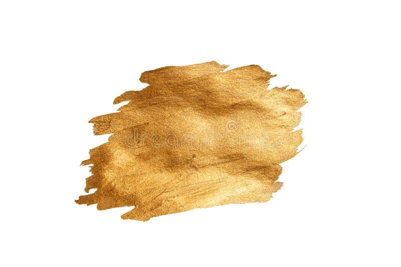 Abstrakter goldener Funkelnpinselstrich lokalisiert auf weißem, Goldhintergrund stock abbildung
