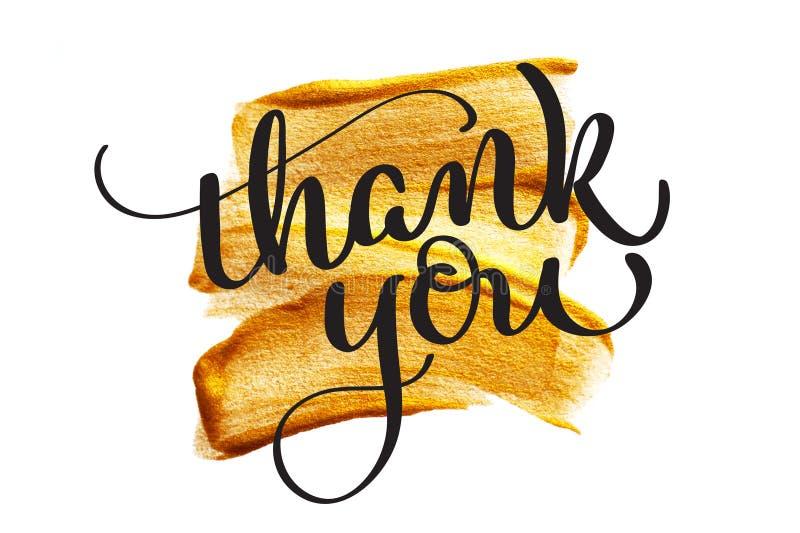 Abstrakter goldener Hintergrund mit einer Bürste der Acrylfarbe auf Papier und Text danken Ihnen Kalligraphiebeschriftungs-Handab vektor abbildung