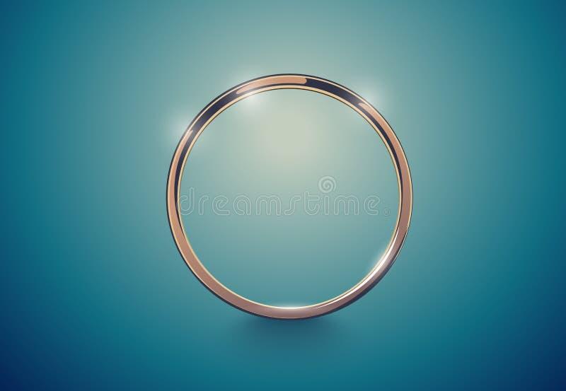Abstrakter goldener Luxusring Weinlese-Effekthintergrund des Vektors heller Runder Rahmen auf tiefem Volumentürkis lizenzfreie abbildung