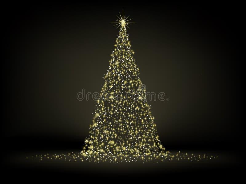 Abstrakter goldener Weihnachtsbaum. ENV 8 stock abbildung