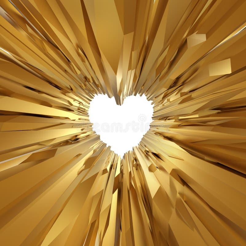 Abstrakter Goldkristallglashintergrund mit Herzen stock abbildung