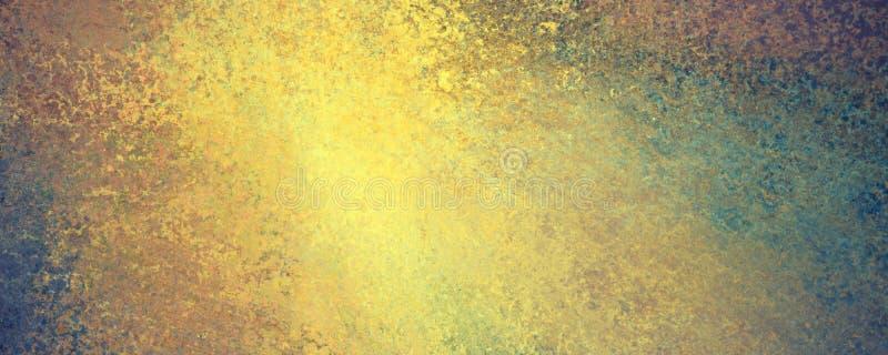 Abstrakter Goldschmutz auf blauem grünem Hintergrund mit vielen Beschaffenheit und beunruhigter grungy Oberfläche der Weinlese lizenzfreie abbildung