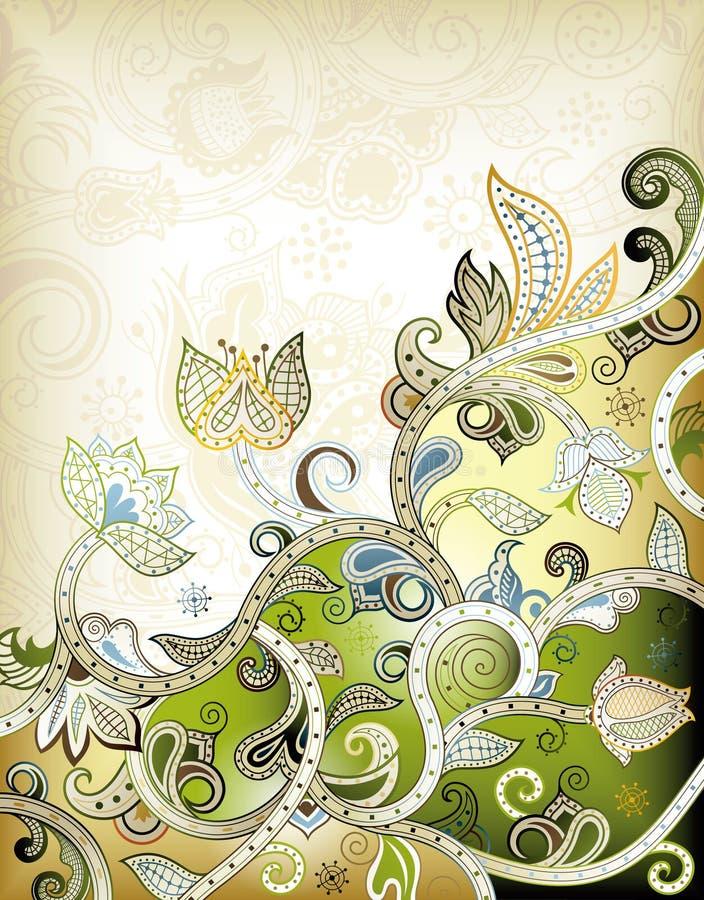 Abstrakter grüner Blumenhintergrund lizenzfreie abbildung