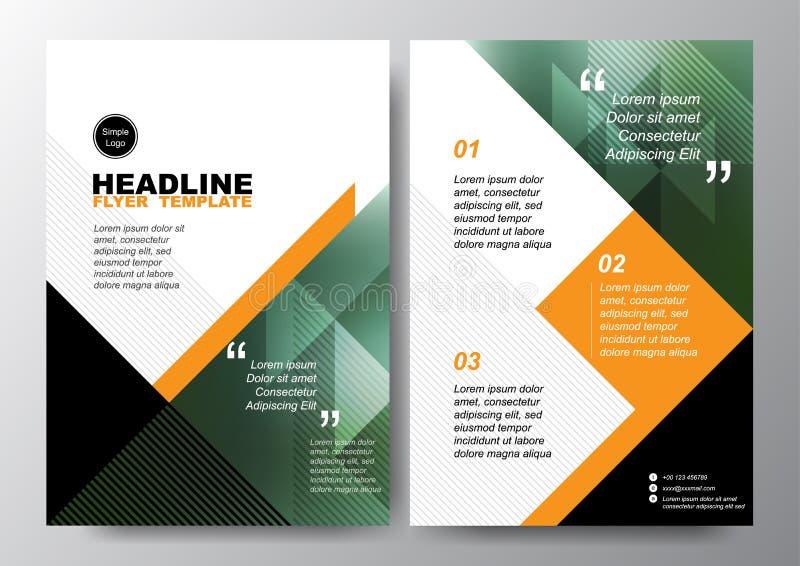 Abstrakter grüner schwarzer Dreieckhintergrund für minimale Plakat-Broschüren-FliegerEntwurf-Vektorschablone in der Größe A4 stock abbildung