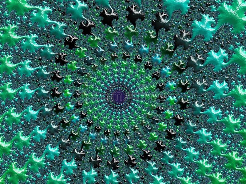 Abstrakter Grüner und Türkis strukturierter gewundener Fractal 3d übertragen für Plakat, Entwurf und Unterhaltung festlicher Hint vektor abbildung