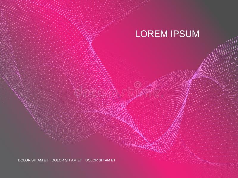 Abstrakter grau-rosa Hintergrund des Vektors mit Punktwellen vektor abbildung
