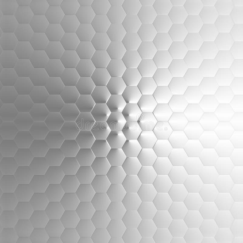 Abstrakter graue und weiße Farbegeometrischer Pentagon-Hintergrund lizenzfreie abbildung