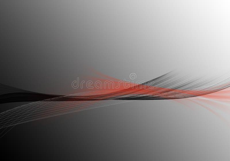 Abstrakter grauer Hintergrund mit dynamischem schwarzem und rotem dynami stock abbildung