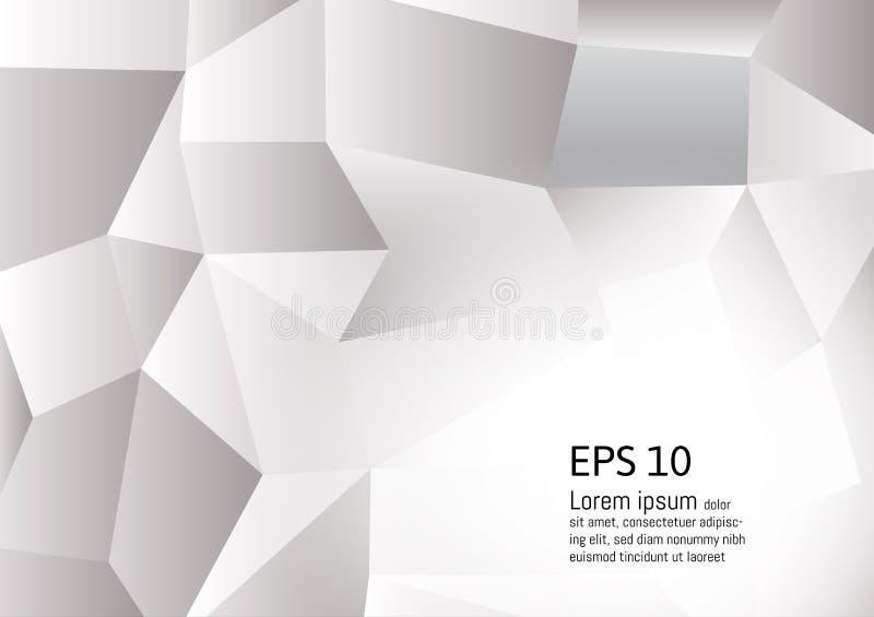 Abstrakter grauer und weißer Farbpolygonhintergrund, Vektorillustration lizenzfreie abbildung