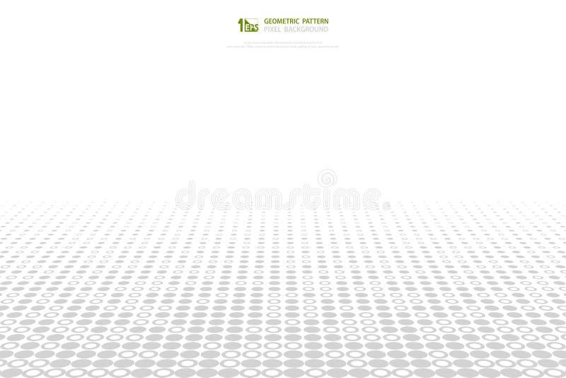 Abstrakter grauer und weißer Kreispixelmuster-Abdeckungshintergrund Illustrationsvektor eps10 vektor abbildung