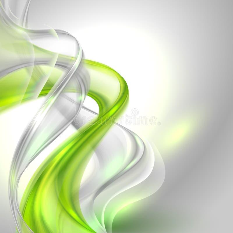 Abstrakter grauer wellenartig bewegender Hintergrund mit grünem Element vektor abbildung