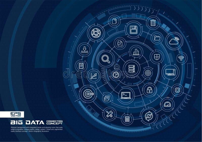 Abstrakter großer Datenhintergrund Digital schließen System mit integrierten Kreisen, glühende dünne Linie Ikonen an stock abbildung