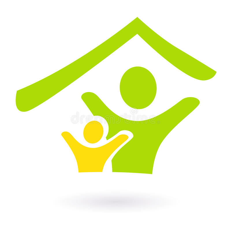 Abstrakter Grundbesitz, Familie oder Nächstenliebeikone. stock abbildung