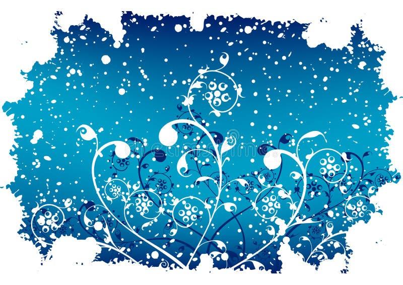 Abstrakter grunge Winterhintergrund mit Flocken und Blumen in Blauem vektor abbildung