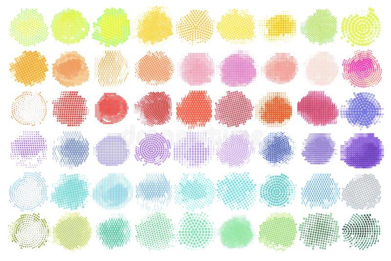 Abstrakter Halbtonhintergrund-Vektor-Satz des lokalisierten modernen Gestaltungselements farbiges Logo, Illustrationsschmutz bunt lizenzfreie abbildung