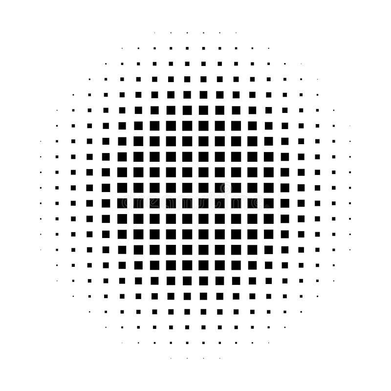 Abstrakter Halbtonsteigungshintergrundkreis von Quadraten in der linearen Anordnung Einfacher stilvoller Vektor des modernen Desi lizenzfreie abbildung