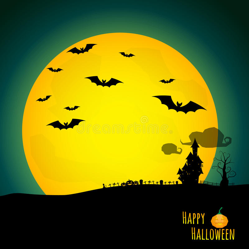Abstrakter Halloween-Hintergrund mit schwarzem Schloss im Friedhof stock abbildung
