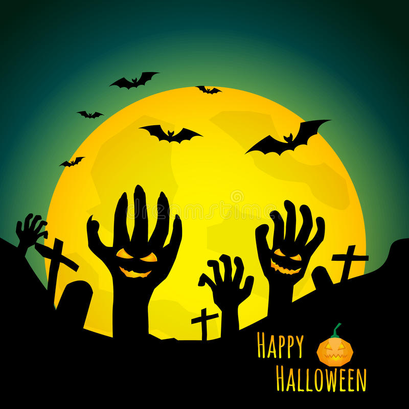 Abstrakter Halloween-Hintergrund, Zombiehand im Friedhof stock abbildung