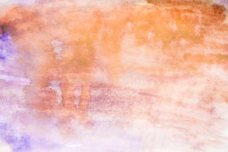 Abstrakter handgemalter Aquarellhintergrund Hintergrundaquarell, Rosa, gelbe Farbe stockbild