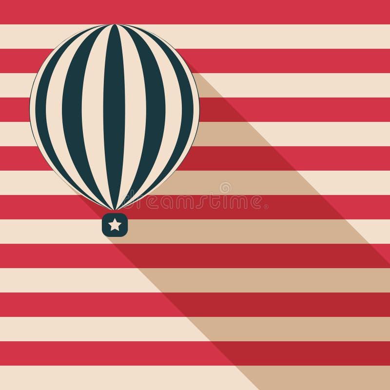 Abstrakter Heißluft-Ballon mit langer Schatten-und der amerikanischen Flagge Karte lizenzfreie abbildung