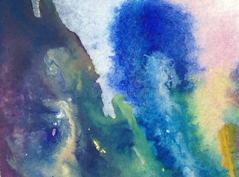 Abstrakter heller bunter struktureller Hintergrund des Aquarells handgemacht Malerei der Seewelle Moderner Rüttler lizenzfreie abbildung