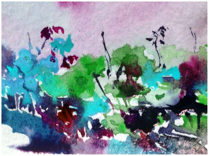 Abstrakter heller farbiger dekorativer Hintergrund Blumenmuster handgemacht Sch?ner zarter romantischer Sommergarten mit Blumen stock abbildung
