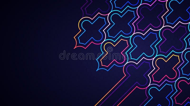 Abstrakter heller Hintergrund Eid Mubaraks mit gl?hendem geometrischem islamischem Neonmuster vektor abbildung