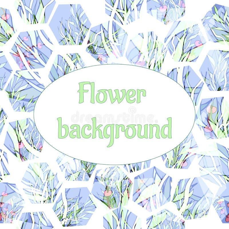 Abstrakter heller Hintergrund von den Würfeln Mosaik von Blumen und von Blättern auf einem weißen Hintergrund elegante nat?rliche vektor abbildung