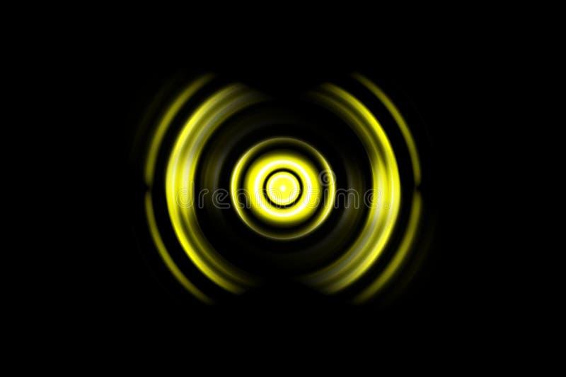 Abstrakter hellgelber Ring mit oszillierendem Hintergrund der Schallwellen lizenzfreie stockbilder