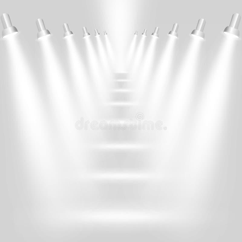 Abstrakter hellgrauer Hintergrund mit Scheinwerfern stock abbildung