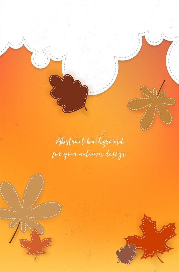 Abstrakter Herbsthintergrund mit Wolken, Blättern und Kopienraum vektor abbildung